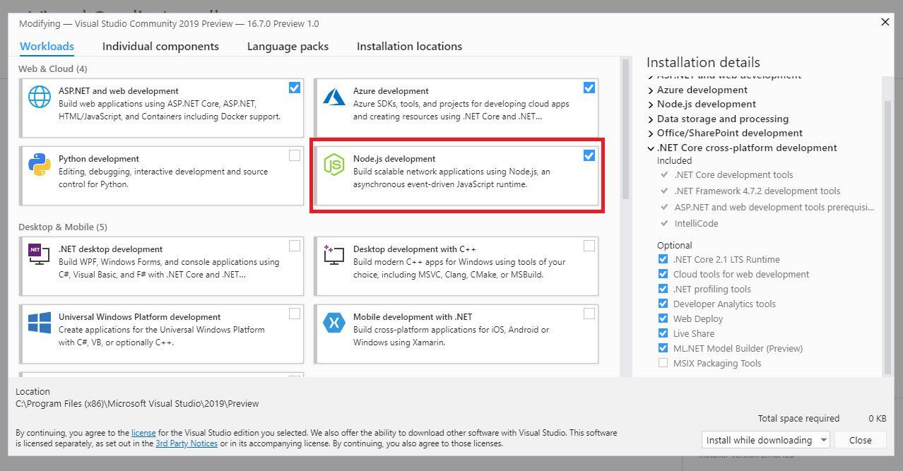 Visual Studio Node.js Workloads